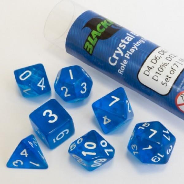KOCKE BLACKFIRE  - 16MM ROLE PLAYING DICE SET - CRYSTAL BLUE (7 KOCK)